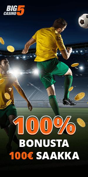Big5 Casinolta 100% bonus 100€ asti. Kokeile tätä Vedonvälittäjää, jolla on vedonlyönti suomeksi, nettikasino ja vedonlyöntibonus!