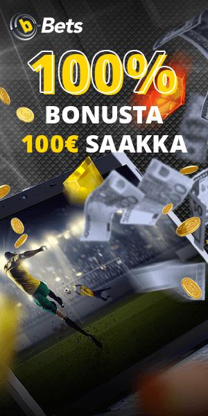 b-Bets Casino tarjoaa 100%bonusta 100€ asti vedonlyöntiin. Nettikasino jossa vedonlyöntibonus ja nopeat kotiutukset.